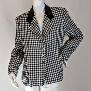 Black & White Button Down Checked Jacket sz 12P